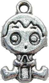00386 Bedel baby jongen Antiek  zilver 24mmx14mm 3 stuks
