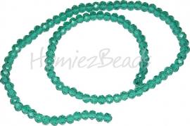 03984 Glaskraal imitatie swarovski faceted Abacus streng ±40cm Emerald 4mmx6mm  1 streng