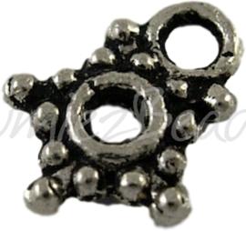 00661 Spacer ster voor bedel Antiek zilver (Nikkelvrij) 7mm ±22 stuks