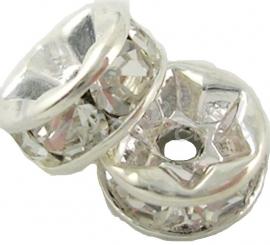 03807 Spacer rondel rhinestone Zilverkleurig (Nickel vrij)/Chrystal 7 stuks