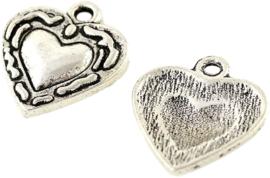04403 Bedel Hart Antiek zilver (Nikkelvrij) 23mmx20,5mmx3mm; gat 2,5mm 2 stuks