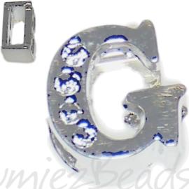 04242 Schuifkraal Letter G Metaalkleurig (Nikkelvrij) 9mmx8mm; gat 6,5mmx3,5mm 1 stuks