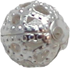 01765 Filigraan kraal Zilverkleurig 6mm 20 stuks