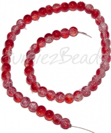 03245 Glaskraal crackle streng ±40cm Rood-transparant 8mm 1 streng