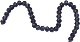 03441 Imitatie swarovski streng (±25cm) Zwart-grijs 10mmx7mm 1 streng