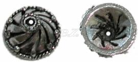 00245 Kralenkap dak Antiek zilver (Nikkel vrij) 6 stuks