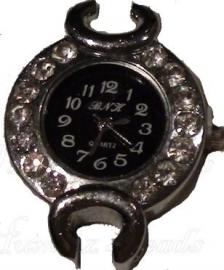 02099 Horloge bling Metaalkleurig/Chrystal  1 stuks