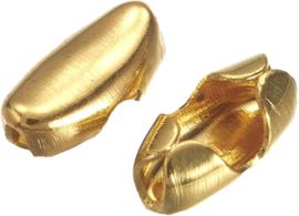 01538 Metaal klemmetje voor ball-chain  Goudkleurig (Nikkelvrij) 5mmx2,5mmx2mm; voor 1,5mm ball chain 12 stuks
