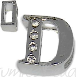04239 Schuifkraal Letter D Metaalkleurig (Nikkelvrij) 9mmx8mm; gat 6,5mmx3,5mm 1 stuks