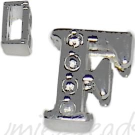 04241 Schuifkraal Letter F Metaalkleurig (Nikkelvrij) 9mmx8mm; gat 6,5mmx3,5mm 1 stuks