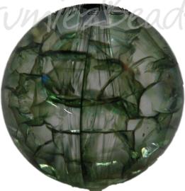 00536 Acryl kraal crackle Donker groen 25mm 3 stuks
