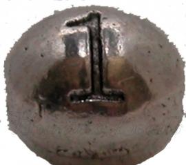 03167 Metalen kraal cijfer 1 Antiek zilver (Nickel vrij) 7mmx6mm; gat 1mm 1 stuks