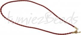 LKG-0009 Ketting gevlochten Bordeaux 3mm; 43cm 1 stuks