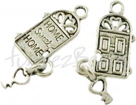 00368 Bedel home sweet home Antiek zilver (Nickel vrij) 18mmx12mm 3 stuks