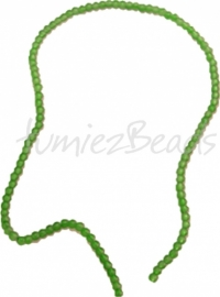 03581 Glaskraal streng (±40cm) frosted Groen 4mm 1 streng