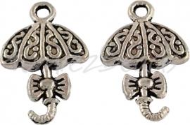 00207 Bedel paraplu Antiek zilver (Nikkel vrij) 20mmx13mm