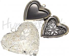 03444 Fotokastje hart Zilverkleurig 26mmx26mmx7mm; inner 19mmx18mm 1 stuks