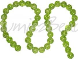 00674 Glaskraal crackle streng (±40cm) Groen 10mm; gat 1,5mm 1 streng