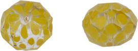00619 Glaskraal Rondel handgeschilderd Transparant Geel 14mmx18mm; gat 1mm 1 stuks