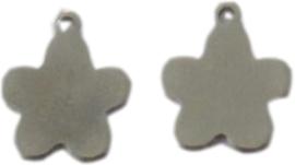 02636 Bedel Bloem Antiek zilver (Nikkelvrij) 14x12x1mm; gat 1mm 1 stuks