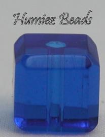02749 Glaskraal vierkant facet geslepen Donker blauw 8mm 1 streng (±30cm)