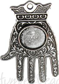 00754 Hanger hand henna Antiek zilver 60mmx36mm