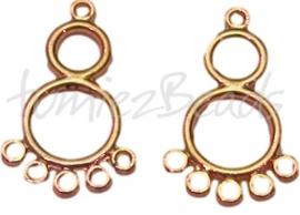 00552 Verdeler 1-5 rings Goudkleurig 29mmx18mm 7 stuks