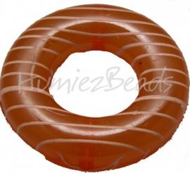 01833 Kralenframe donut Oranje 39mmx9mm; binnenring 17mm 3 stuks