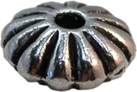 01285 Spacer disc bloem Antiek zilver (Nickel vrij) 4mmx9mm 11 stuks