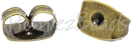 02078 Oorbelachterkantjes Antiek brons (Nikkelvrij) 6mmx4mmx3mm; gat 0,7~1mm 30 stuks