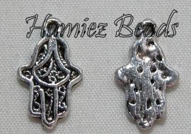 02868 Bedel hand henna Antiek zilver (Nikkelvrij) 10mmx17mm 11 stuks