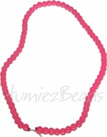 03505 Glaskraal streng (±40cm) imitatie jade Roze 6mm 1 streng