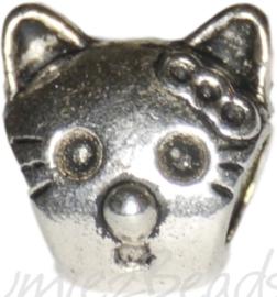 02057 Pandorastijl kraal poes Antiek zilver 12mmx12mm; gat 4,5mm 1 stuks