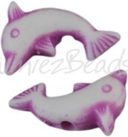 00495 Spacer acryl dolfijntje Violet 14mmx8mmx4mm ±30 stuks