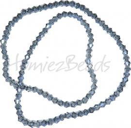 03998 Glaskraal imitatie swarovski Bicone streng ±40cm Blue Plated 4mm  1 streng