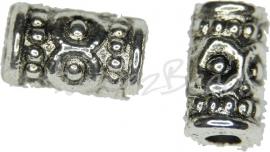 02258 Abstandhalter tube bolletjes Antiksilber 9mmx6mm; loch 2mm 7 stück