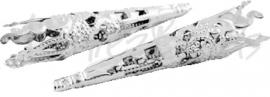 00319 Kralenkap filigraan Zilverkleurig 41mmx8mm 6 stuks