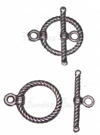00153 Kapittelslot ribbel Antiek zilver (Nickel vrij) 22mmx18mm 5 stuks