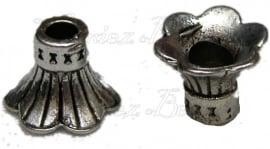 00340 Kralenkap lampenkap Antiek zilver (Nikkelvrij) 9mmx11mm; gat 4mm-3mm 6 stuks