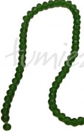 01384 Glaskraal imitatie swarovski faceted Abacus streng (±20cm) groen 4mmx6mm 1 streng