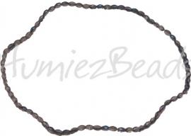 03204 Glaskraal electroplate facet ovaal streng ± 40cm AB color 6mmx4mm 1 streng
