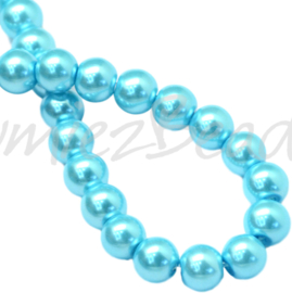 04032 Glasparel Cyan 3-4mm; gat 0,5mm 1 streng ±30cm