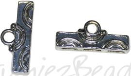 02456 Eindkap 3 gaats Antiek zilver (Nikkelvrij) 4 stuks