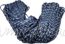 PARA-4017 Parakoord Blauw-wit-zwart-groen 4mm 6 meter