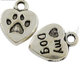 03750 Bedel hart love my dog (Hond) Antiek zilver