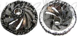 00499 Kralenkap pukkel Antiek zilver 13mmx6mm; gat 2mm 7 stuks