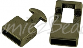02702 Haakslot Antiek brons (Nikkelvrij) 22mmx12mmx6mm; gat 10mmx4mm 1 stuks