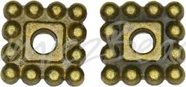 03755 Spacer daisy vierkant Antiek brons (Nikkelvrij) 7mmx7mmx2mm; gat 2mm 12 stuks