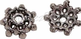 01279 Kralenkap open gewerkt Antiek zilver (Nikkel vrij) 3mmx10mm 15 stuks