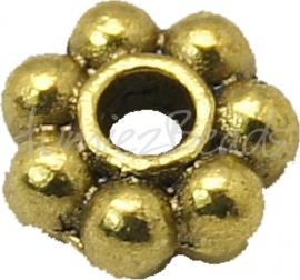 03705 Spacer daisy Antiek goud (Nikkelvrij) 4mm ±35 stuks